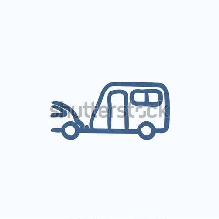 Car with caravan line icon. Stock photo © RAStudio