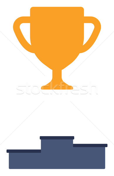 Gold trophy on pedestal Stock photo © RAStudio