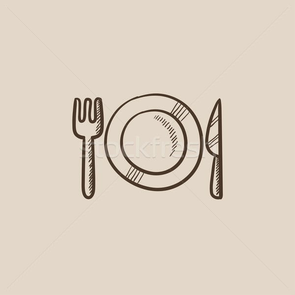 Plate with cutlery sketch icon. Stock photo © RAStudio