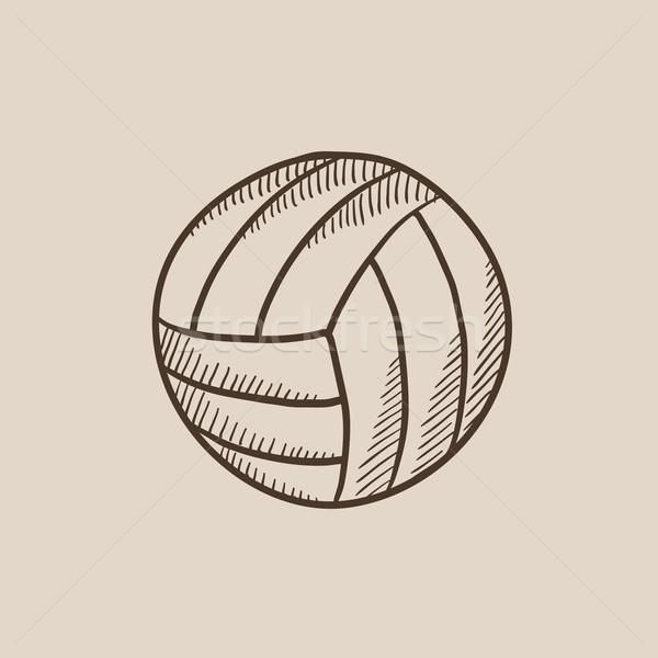 Siatkówka piłka szkic ikona internetowych komórkowych Zdjęcia stock © RAStudio