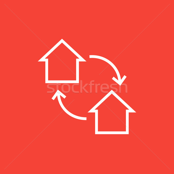 Ház csere vonal ikon sarkok háló Stock fotó © RAStudio