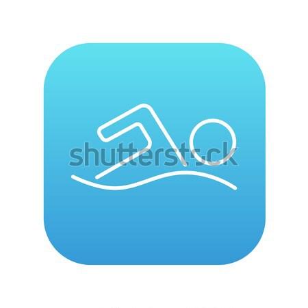 пловец линия икона уголки веб мобильных Сток-фото © RAStudio
