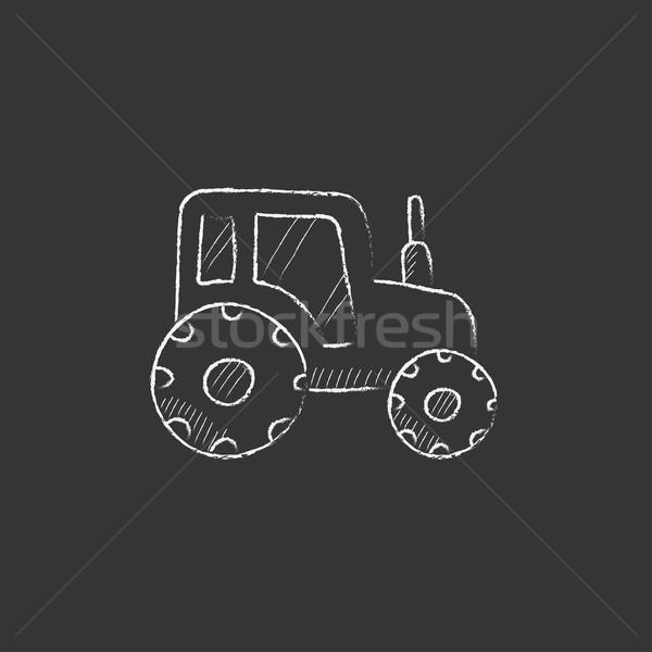 Tractor. Drawn in chalk icon. Stock photo © RAStudio