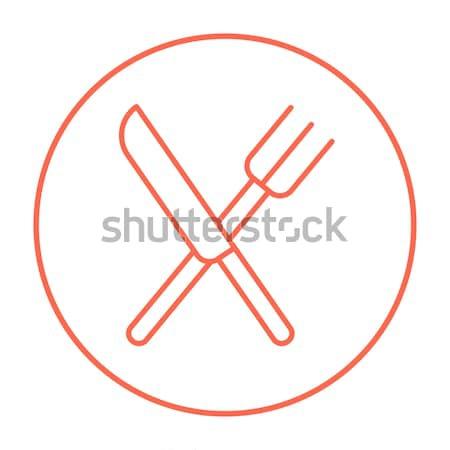 Knife and fork line icon. Stock photo © RAStudio