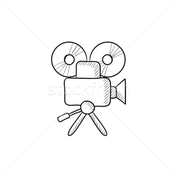 Stock photo: Video camera sketch icon.