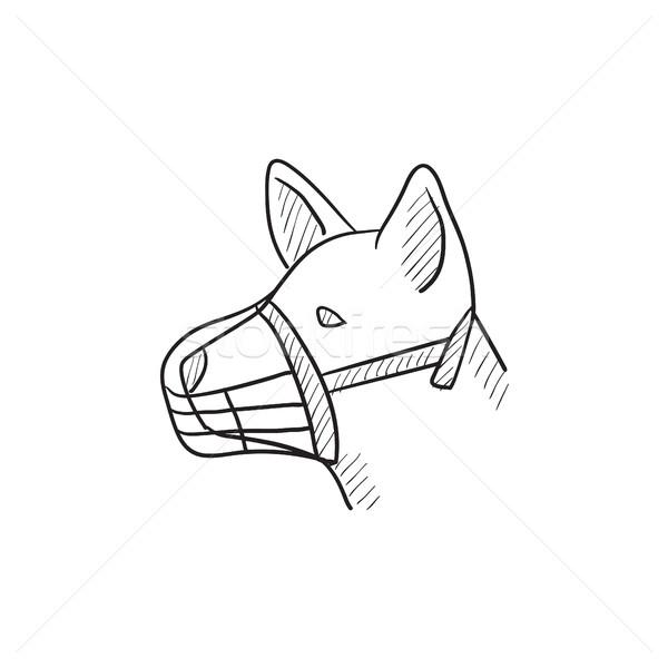 Kutya torkolat rajz ikon vektor izolált Stock fotó © RAStudio