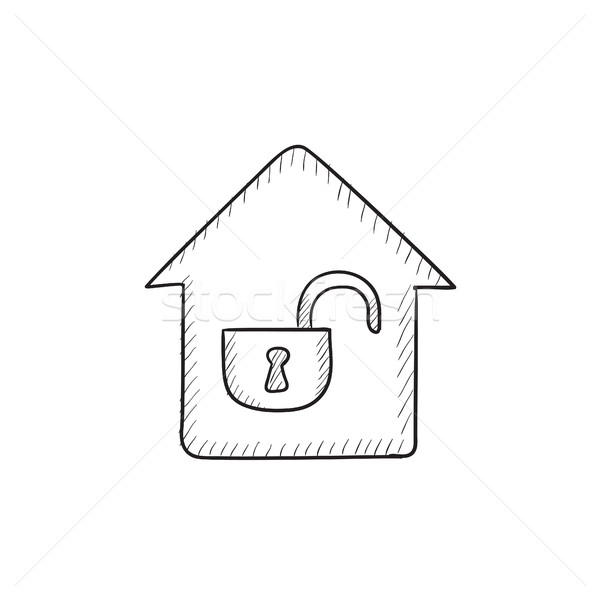 House with open lock sketch icon. Stock photo © RAStudio