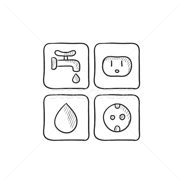 Utilities signs electricity and water sketch icon. Stock photo © RAStudio