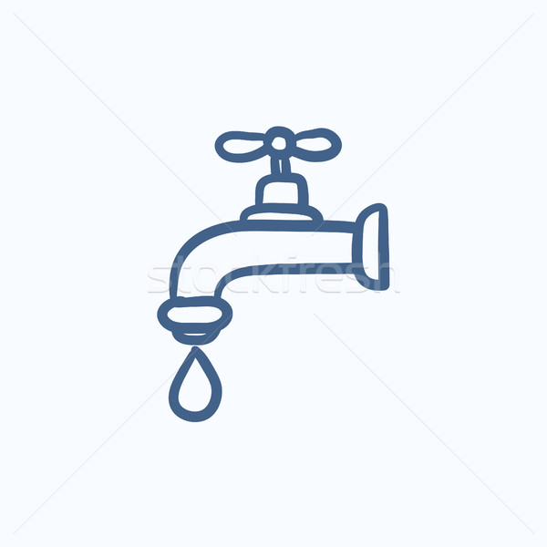 Dripping tap with drop sketch icon. Stock photo © RAStudio