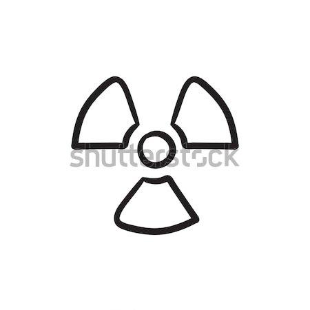Promieniowanie podpisania szkic ikona wektora odizolowany Zdjęcia stock © RAStudio
