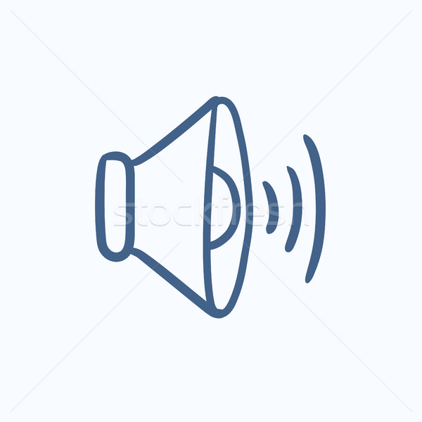 Hangszóró hangerő rajz ikon vektor izolált Stock fotó © RAStudio