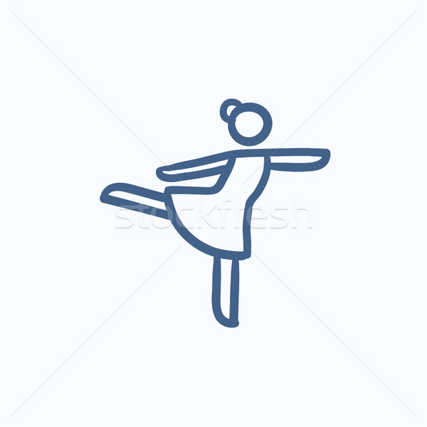 Femminile figura skater sketch icona vettore Foto d'archivio © RAStudio