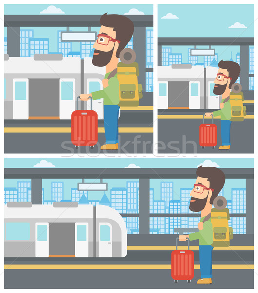 человека железнодорожная станция Постоянный поезд открытых дверей Сток-фото © RAStudio