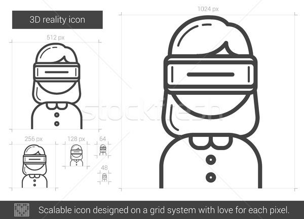 три реальность линия икона вектора изолированный Сток-фото © RAStudio