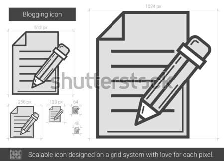 Blogging ligne icône vecteur isolé blanche Photo stock © RAStudio