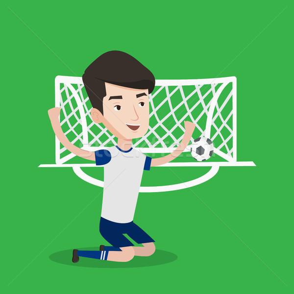 Voetballer vieren doel kaukasisch jonge voetballer Stockfoto © RAStudio
