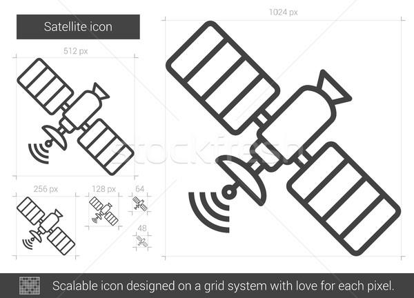 Satélite linha ícone vetor isolado branco Foto stock © RAStudio