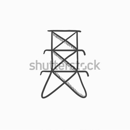 Elektrische toren schets icon vector geïsoleerd Stockfoto © RAStudio