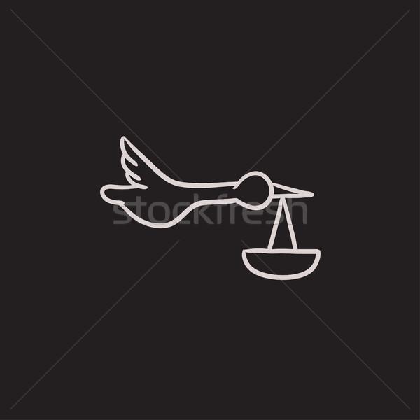 Bebê cesta cegonha esboço ícone vetor Foto stock © RAStudio