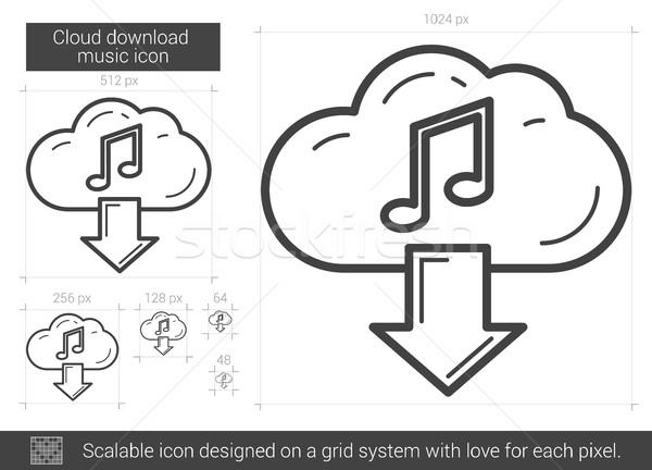 Сток-фото: облаке · скачать · музыку · линия · икона · вектора