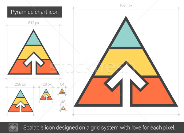 Stock photo: Pyramid chart line icon.