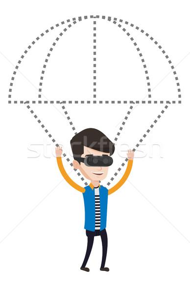 Boldog férfi headset repülés ejtőernyő visel Stock fotó © RAStudio