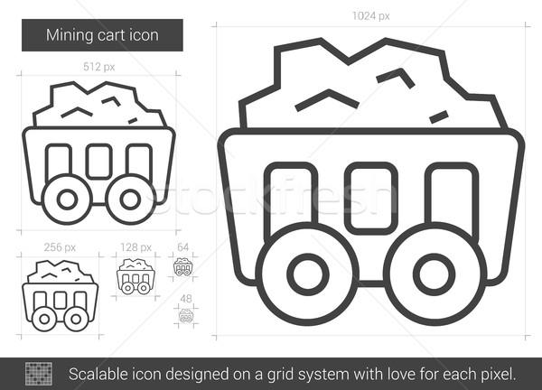 Mineração carrinho linha ícone vetor isolado Foto stock © RAStudio