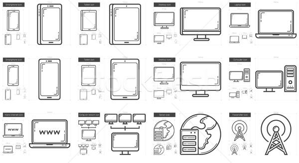 Gadgets lijn vector geïsoleerd witte Stockfoto © RAStudio