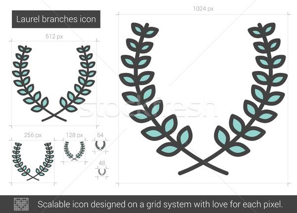 Laurel línea icono vector aislado Foto stock © RAStudio
