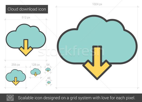 облаке скачать линия икона вектора изолированный Сток-фото © RAStudio