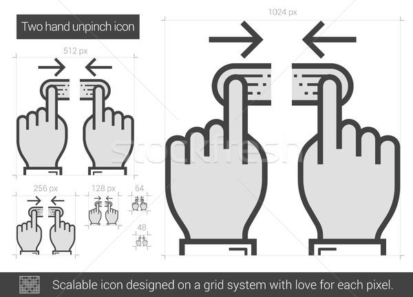Kettő kéz vonal ikon vektor izolált Stock fotó © RAStudio
