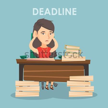 Business woman problem ostateczny termin asian posiedzenia Zdjęcia stock © RAStudio