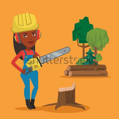 Lumberjack with chainsaw vector illustration. Stock photo © RAStudio
