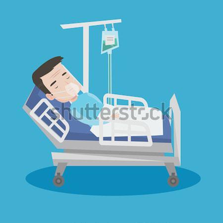 Beteg kórházi ágy oxigénmaszk ágy kórház férfi Stock fotó © RAStudio
