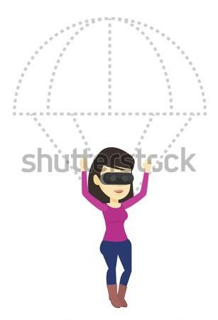 Gelukkig vrouw hoofdtelefoon vliegen parachute jonge Stockfoto © RAStudio