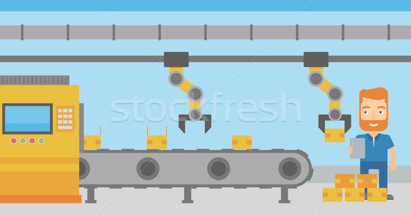 Robótico braço trabalhando produção linha caucasiano Foto stock © RAStudio
