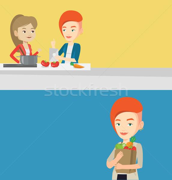 2 食品 ドリンク バナー スペース 文字 ストックフォト © RAStudio