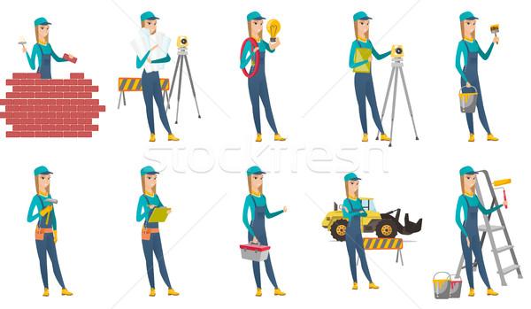 Wektora zestaw budowniczy murarz Zdjęcia stock © RAStudio