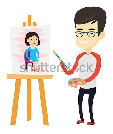 Creative male artist painting portrait. Stock photo © RAStudio