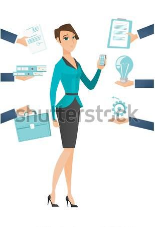Employee having lots of work to do. Stock photo © RAStudio