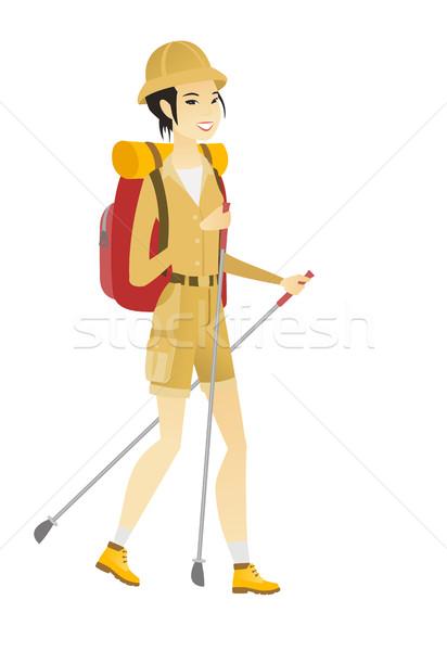 Asian femme randonneur marche trekking jeunes Photo stock © RAStudio