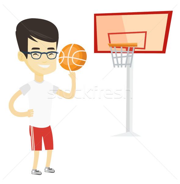 молодые мяча азиатских спортсмен баскетбол Сток-фото © RAStudio