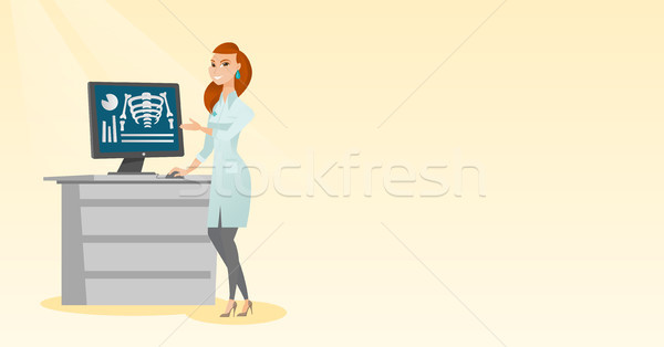 Doctor examining a radiograph vector illustration. Stock photo © RAStudio