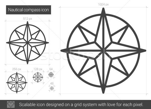 Morski kompas line ikona wektora odizolowany Zdjęcia stock © RAStudio