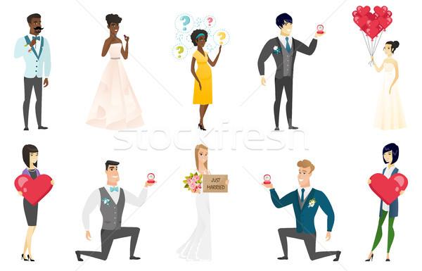Bride and groom vector illustrations set. Stock photo © RAStudio
