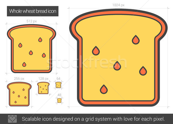 Whole wheat bread line icon. Stock photo © RAStudio