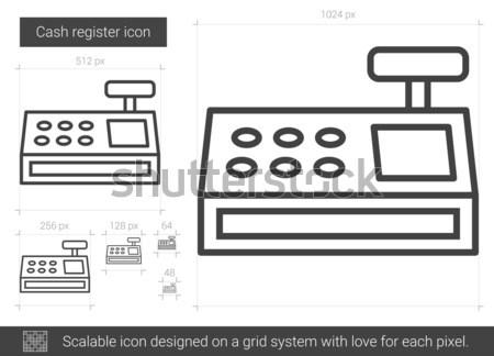 Kassa lijn icon vector geïsoleerd witte Stockfoto © RAStudio