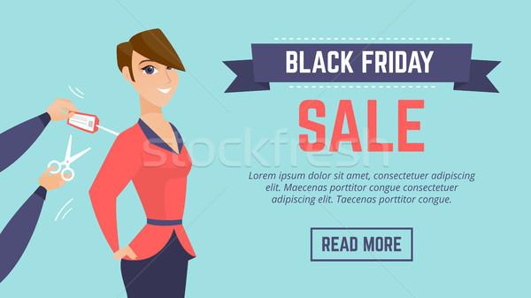Stock fotó: Black · friday · vásár · modern · poszter · sablon · weboldal
