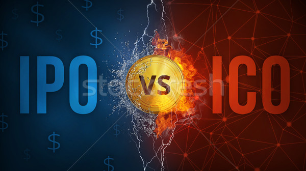 ICO vs IPO technology futuristic banner. Stock photo © RAStudio