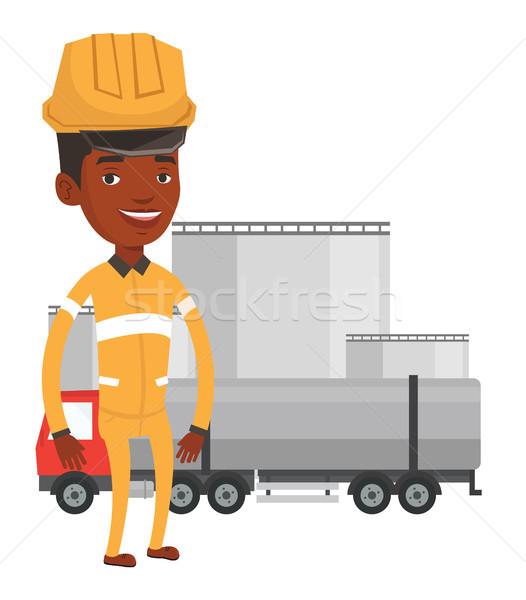 Stok fotoğraf: Işçi · yakıt · kamyon · rafineri · yağ · gaz